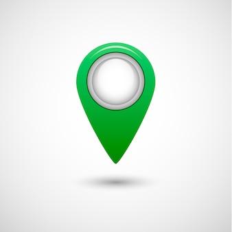 Icona del puntatore realistico per mappa, colore verde