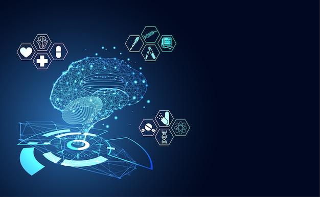 ็็ icona del punto e icona sanitaria wireframe digitale del cervello umano