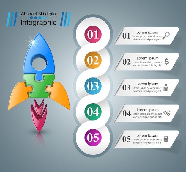 Icona del razzo illustrazione astratta infografica.