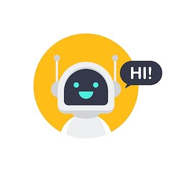 Icona del robot. bot design dei segni. concetto di simbolo di chatbot. bot del servizio di supporto vocale. bot di supporto online. illustrazione di riserva di vettore