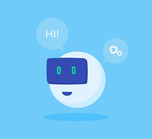 Icona del robot. chat bot segno per il servizio di supporto.