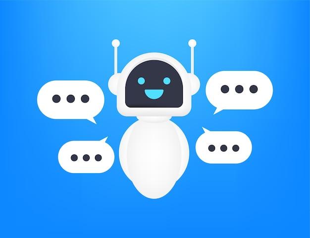 Icona del robot. segno di bot. concetto di simbolo di chatbot. bot del servizio di supporto vocale. bot di supporto online. illustrazione.