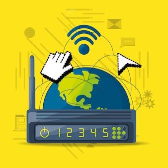 Icona del router wi-fi correlata ad internet in tutto il mondo
