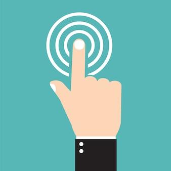 Icona del segno di spunta di vettore, icona del tocco, icone piane, mano con dito premuto, stile piatto
