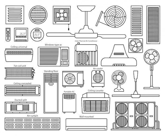 Icona del set di stile di linea del ventilatore di aria