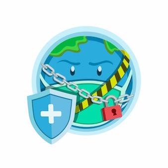 Icona del simbolo di blocco del mondo, pianeta terra con maglie di catena bloccate, linea incrociata con scudo per proteggere il virus. fumetto illustrazione su sfondo bianco