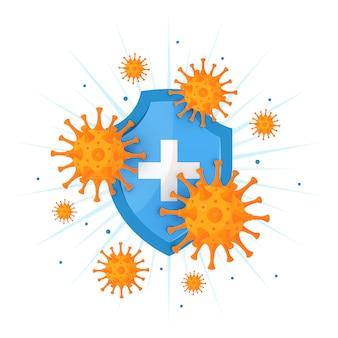 Icona del sistema immunitario nello stile del fumetto, illustrazione