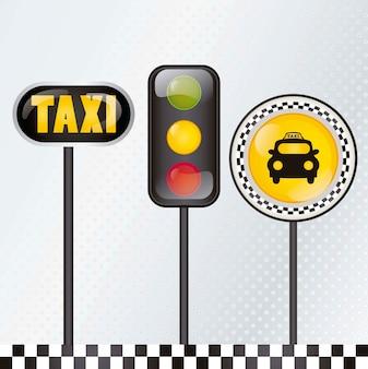 Icona del taxi con l'illustrazione d'argento di vettore del fondo