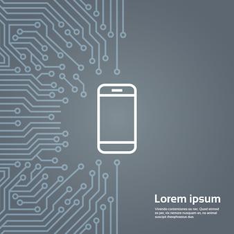Icona del telefono astuto delle cellule sopra l'insegna del fondo di moterboard del chip del computer