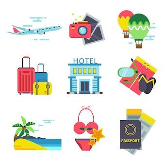 Icona del tempo di viaggio impostato in stile piano. segni vettoriali di vacanze estive.