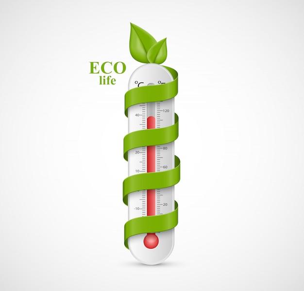 Icona del termometro. problemi ecologici.
