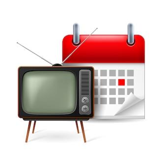 Icona del vecchio televisore e calendario con giorno contrassegnato