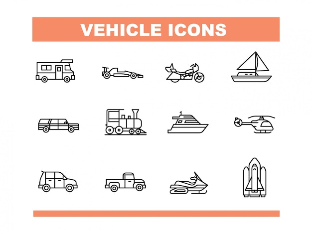 Icona del veicolo impostata in stile linea vettoriale