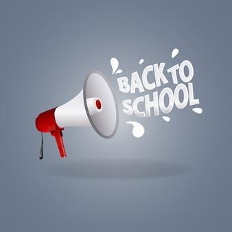 Icona dell'altoparlante e segno di nuovo a scuola