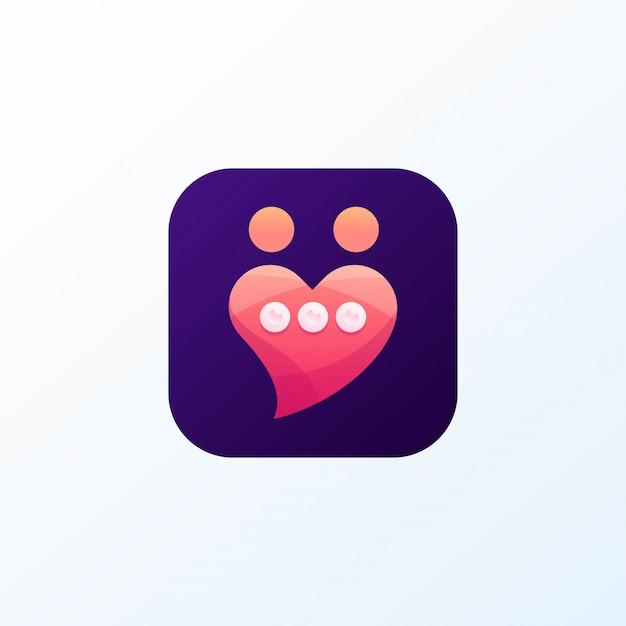 Icona dell'amore di chat