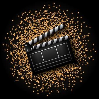 Icona dell'assicella sopra punti dorati e sfondo nero