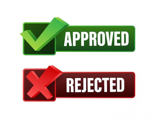 Icona dell'autoadesivo dell'etichetta approvata e rifiutata. illustrazione di riserva.