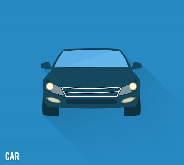 Icona dell'automobile con ombra isolata sul blu