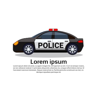 Icona dell'automobile di polica su bianco