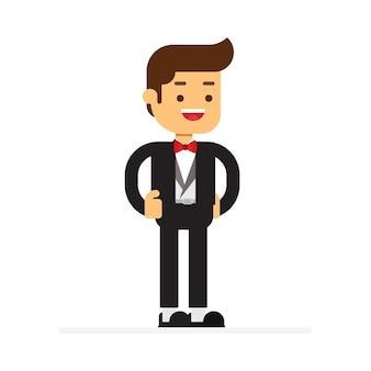 Icona dell'avatar del carattere dell'uomo. ragazzo in attrezzatura di sera