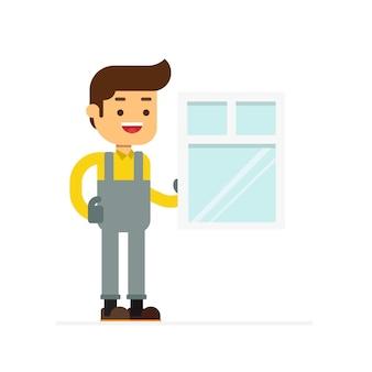 Icona dell'avatar personaggio uomo. i lavoratori installano portare le finestre di casa, costruendo il vetro