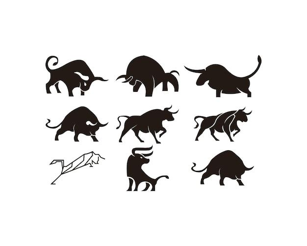 Icona dell'azienda agricola della siluetta animale del corno di toro
