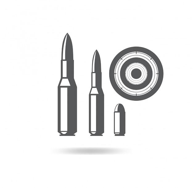 Icona dell'illustrazione dei proiettili per le armi da fuoco con l'obiettivo