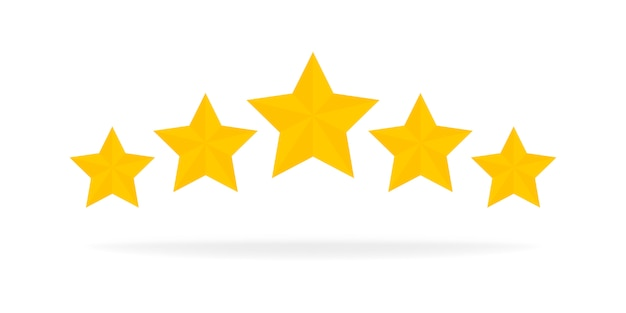 Icona dell'oro di valutazione di cinque stelle. elementi dell'interfaccia utente di progettazione del gioco del fumetto 3d. vinci premi, ratting, premio, concetto di successo. illustrazione.