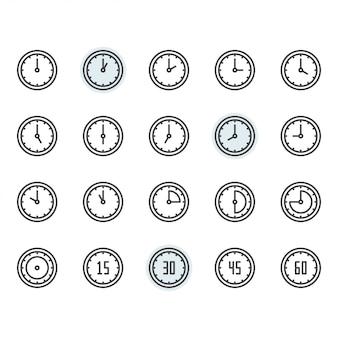 Icona dell'orologio e di tempo e insieme di simboli nel profilo