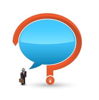 Icona dell'uomo 3d di affari con discorso e punto interrogativo