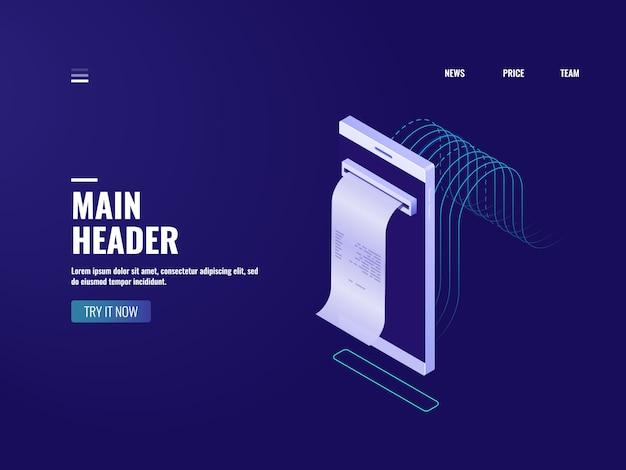 Icona della banca online, fattura dell'elettrone e concetto di imposta, ordine d'acquisto, messaggio degli sms con il pagamento