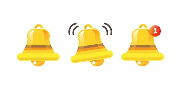 Icona della campana di notifica campana di avviso d'oro sta scuotendo il messaggio di avviso in arrivo