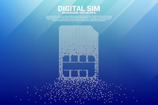 Icona della carta sim da un piccolo pixel quadrato. concetto per la tecnologia e la rete di telecomunicazione digitale mobile.