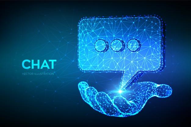 Icona della chat. chat poligonale astratta bassa segno disponibile.