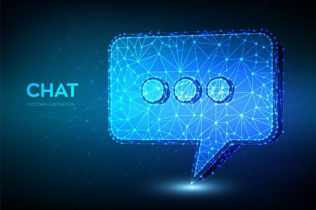 Icona della chat. segno di chat astratto poligonale basso. simbolo del messaggio a fumetto.