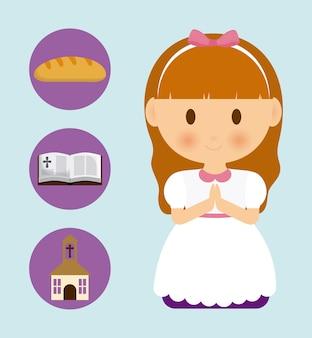 Icona della chiesa della bibbia del pane del fumetto del bambino della ragazza