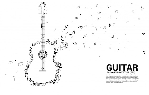 Icona della chitarra di forma di flusso di dancing della nota di melodia di musica di vettore