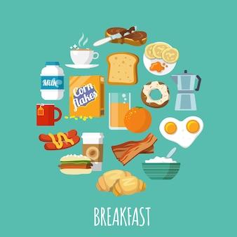 Icona della colazione piatta