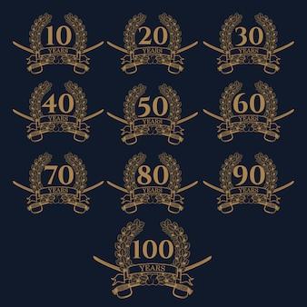 Icona della corona di alloro 10-100 ° anniversario.