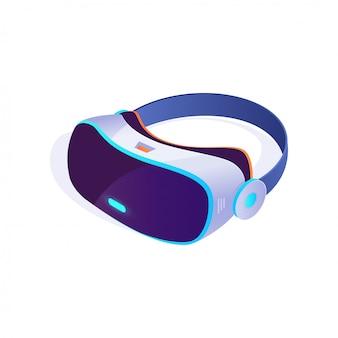 Icona della cuffia avricolare 3d isometrica su fondo bianco, vetri di realtà virtuale, icona della cuffia avricolare di vr. illustrazione vettoriale