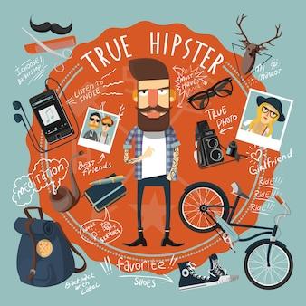 Icona della guarnizione del concetto di hipster