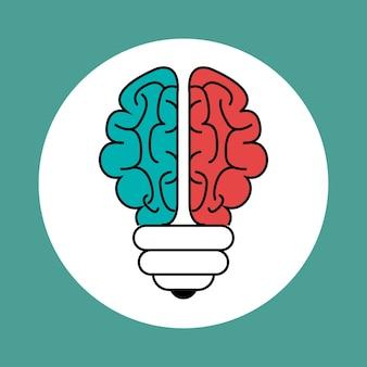 Icona della lampadina a forma di cervello su sfondo verde acqua. Illustrazione vettoriale