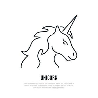 Icona della linea di unicorno.