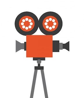 Icona della linea piatta del cinema della macchina fotografica