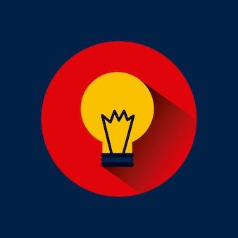 Icona della luce di lampadina sopra il cerchio rosso e sfondo blu.