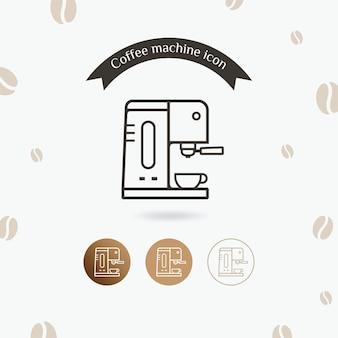 Icona della macchina da caffè con tazza in stile design linea piatta