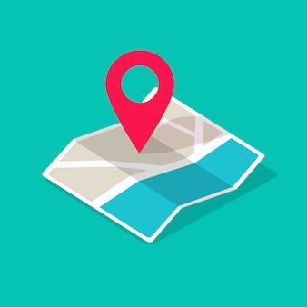 Icona della mappa isometrica con il fumetto piano dell'illustrazione del puntatore del perno di posizione di destinazione