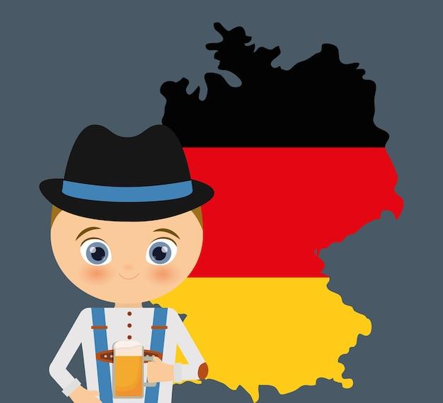 Icona della mappa oktoberfest cappello cartone animato di birra ragazzo