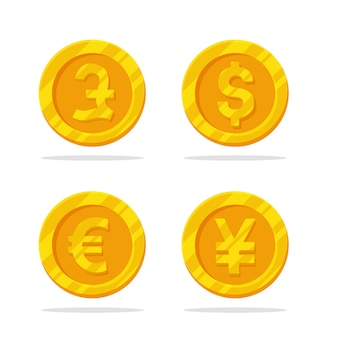 Icona della moneta di denaro. vettore piatto della moneta d'oro con il simbolo di valuta.