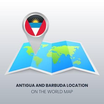 Icona della posizione di antigua e barbuda sulla mappa del mondo